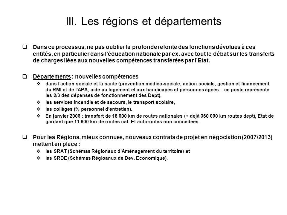 III. Les régions et départements