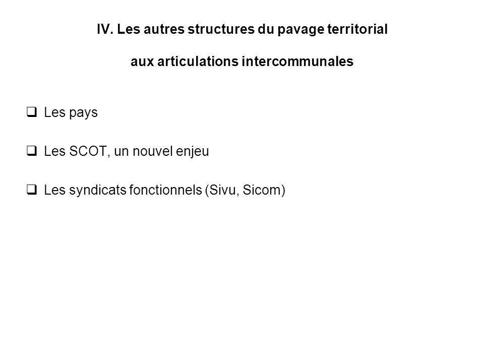IV. Les autres structures du pavage territorial aux articulations intercommunales