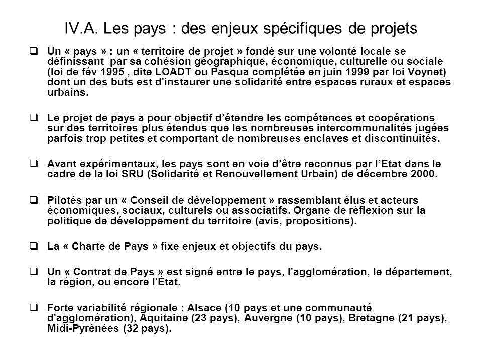 IV.A. Les pays : des enjeux spécifiques de projets