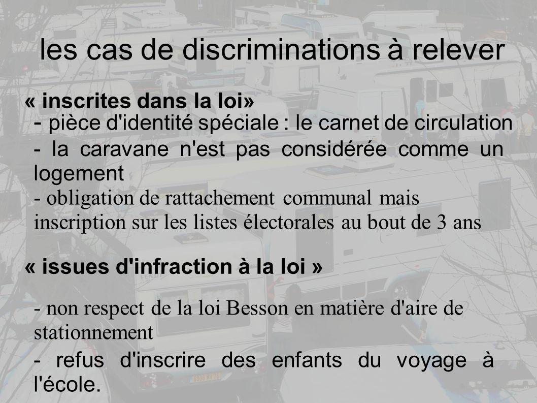les cas de discriminations à relever
