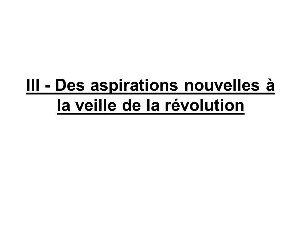III - Des aspirations nouvelles à la veille de la révolution