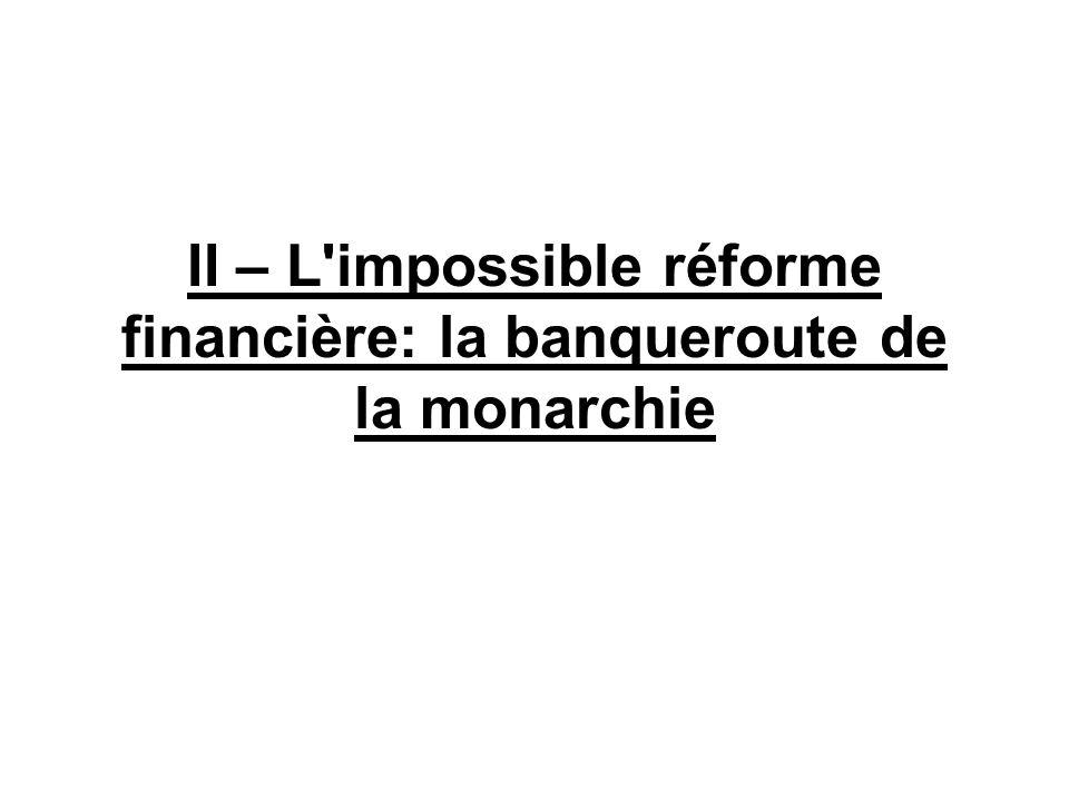 II – L impossible réforme financière: la banqueroute de la monarchie