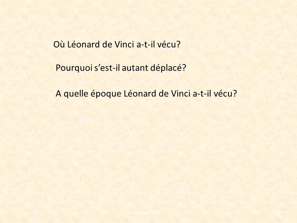 Où Léonard de Vinci a-t-il vécu