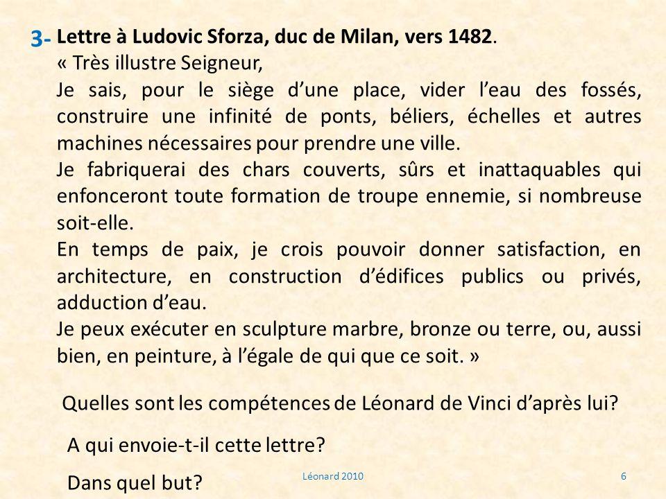 3- Lettre à Ludovic Sforza, duc de Milan, vers 1482.