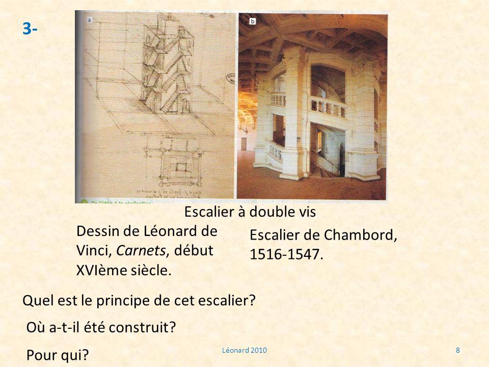 3-Escalier à double vis. Dessin de Léonard de Vinci, Carnets, début XVIème siècle. Escalier de Chambord, 1516-1547.