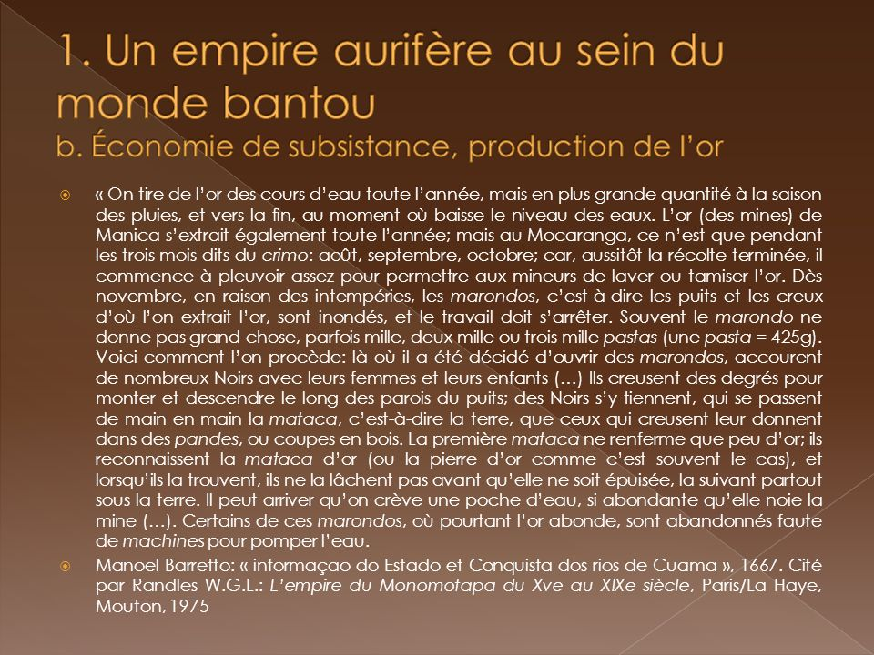 1. Un empire aurifère au sein du monde bantou b