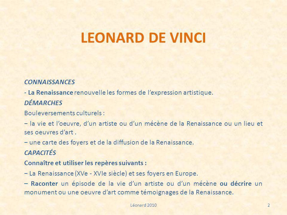 LEONARD DE VINCI CONNAISSANCES