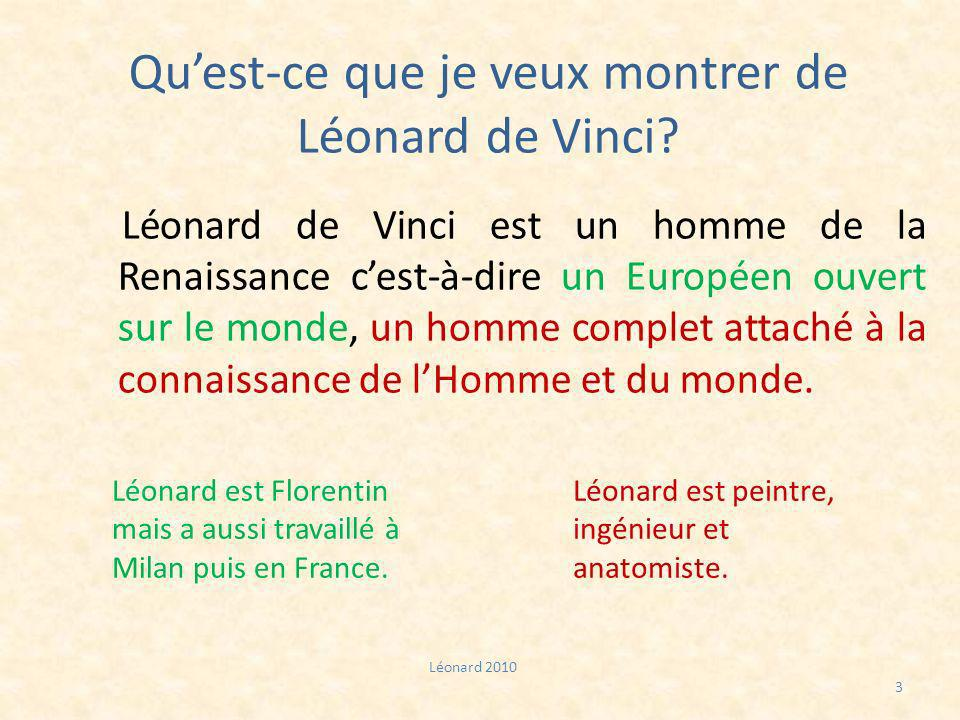 Qu'est-ce que je veux montrer de Léonard de Vinci