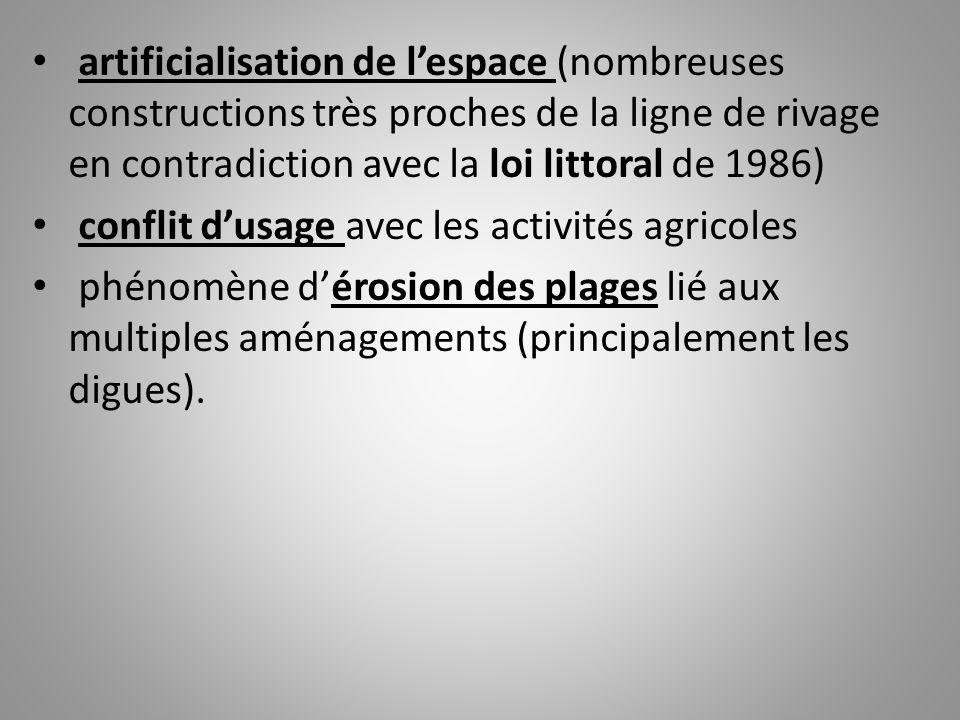 artificialisation de l'espace (nombreuses constructions très proches de la ligne de rivage en contradiction avec la loi littoral de 1986)