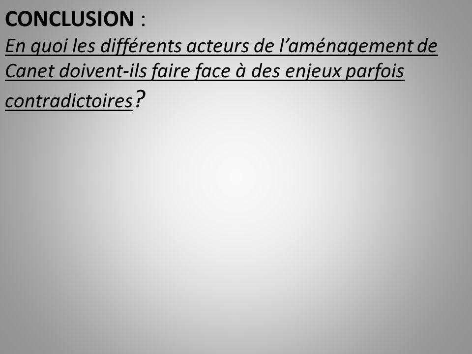 CONCLUSION : En quoi les différents acteurs de l'aménagement de Canet doivent-ils faire face à des enjeux parfois contradictoires