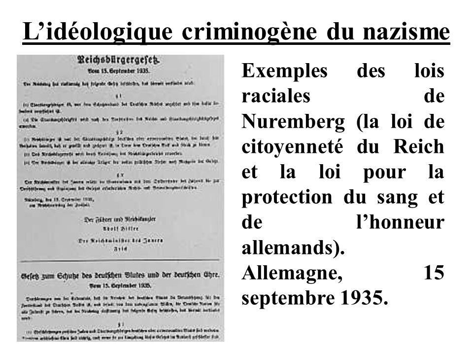 L'idéologique criminogène du nazisme
