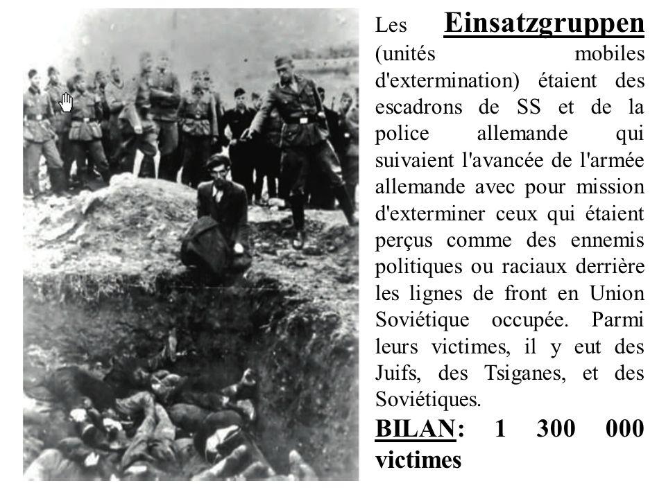 Les Einsatzgruppen (unités mobiles d extermination) étaient des escadrons de SS et de la police allemande qui suivaient l avancée de l armée allemande avec pour mission d exterminer ceux qui étaient perçus comme des ennemis politiques ou raciaux derrière les lignes de front en Union Soviétique occupée. Parmi leurs victimes, il y eut des Juifs, des Tsiganes, et des Soviétiques.