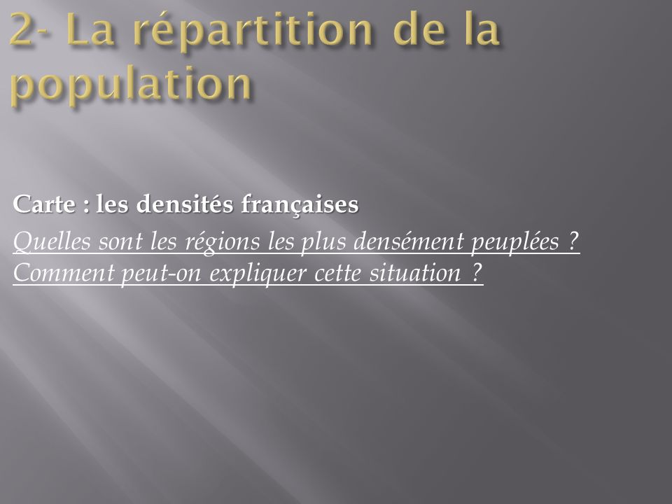 2- La répartition de la population