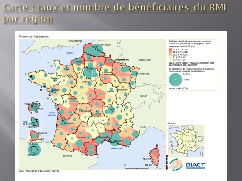 Carte : taux et nombre de bénéficiaires du RMI par région