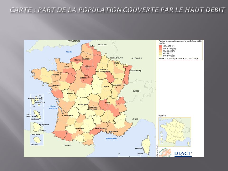 CARTE : PART DE LA POPULATION COUVERTE PAR LE HAUT DEBIT