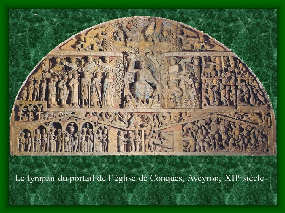 Le tympan du portail de l'église de Conques, Aveyron, XIIe siècle