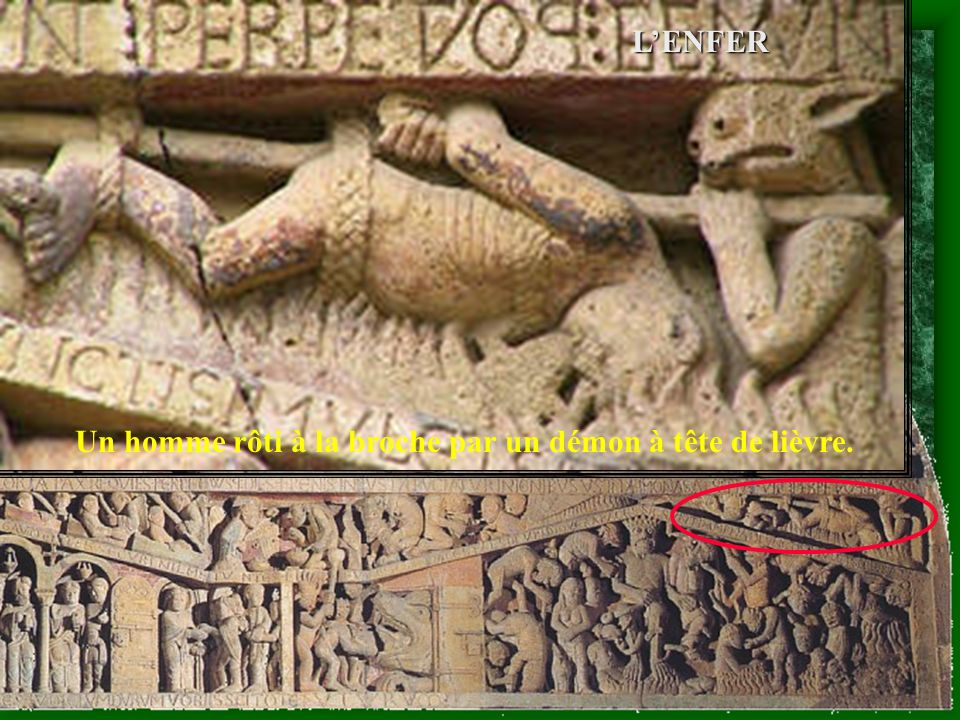 Un homme rôti à la broche par un démon à tête de lièvre.