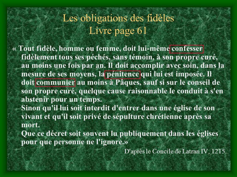 Les obligations des fidèles Livre page 61