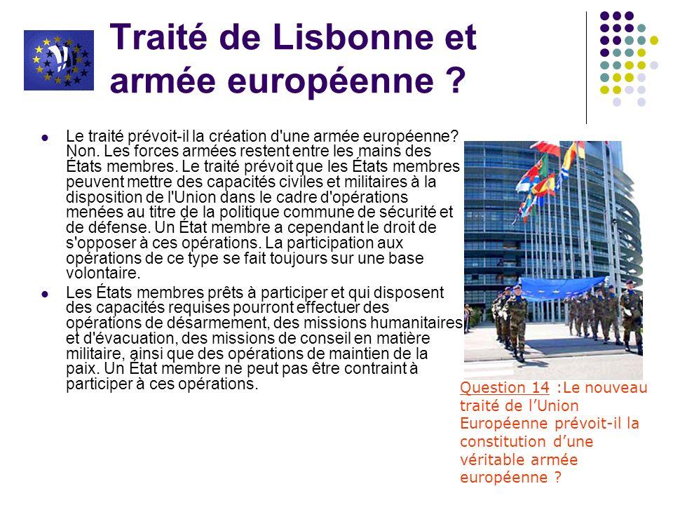 Traité de Lisbonne et armée européenne