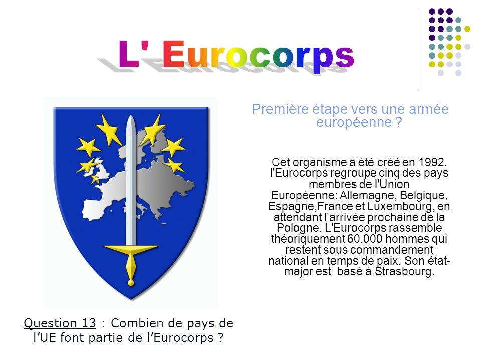 L Eurocorps Première étape vers une armée européenne