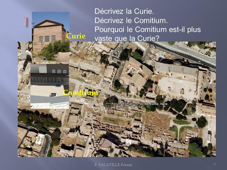 1- Décrivez la Curie. Décrivez le Comitium.