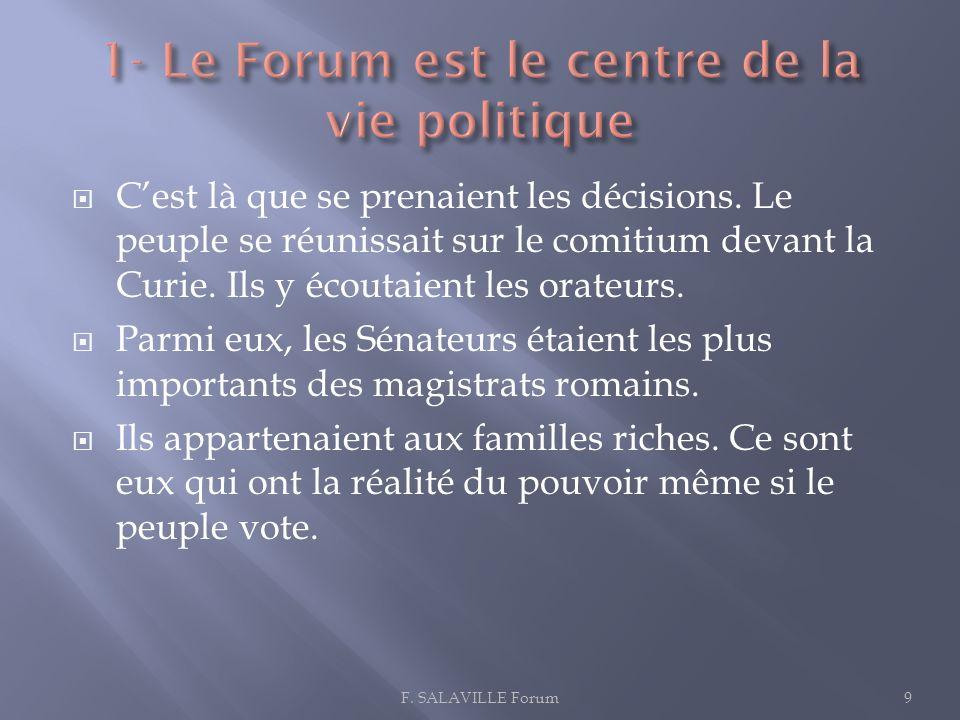 1- Le Forum est le centre de la vie politique
