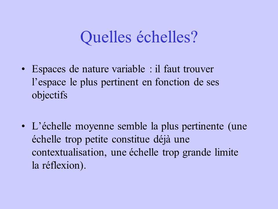 Quelles échelles Espaces de nature variable : il faut trouver l'espace le plus pertinent en fonction de ses objectifs.