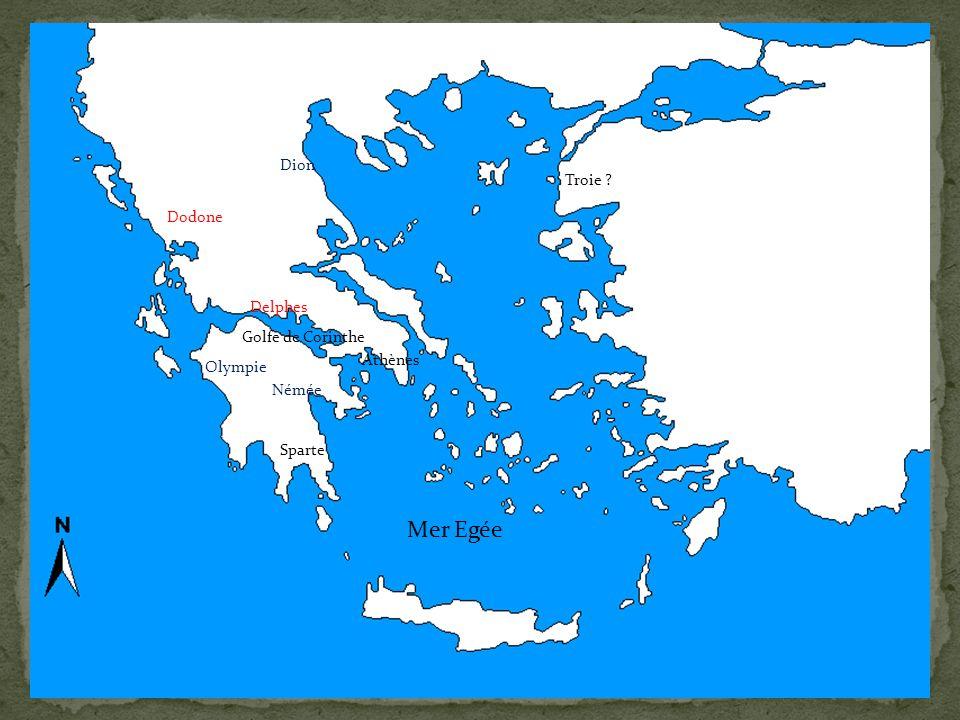 Mer Egée Dion Troie Dodone Delphes Golfe de Corinthe Athènes Olympie