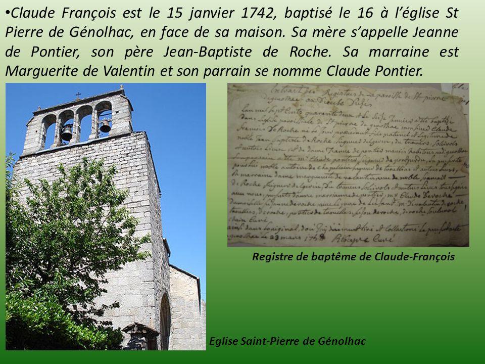 Registre de baptême de Claude-François