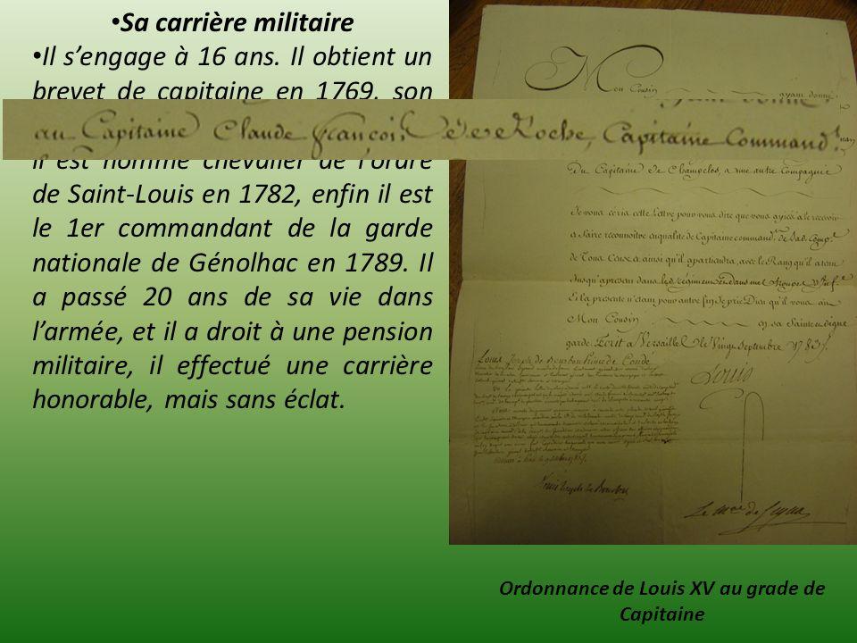 Ordonnance de Louis XV au grade de Capitaine