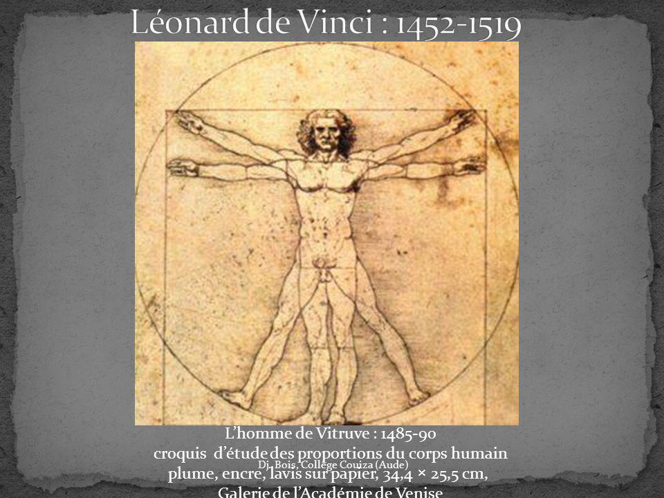 Léonard de Vinci : 1452-1519 L'homme de Vitruve : 1485-90