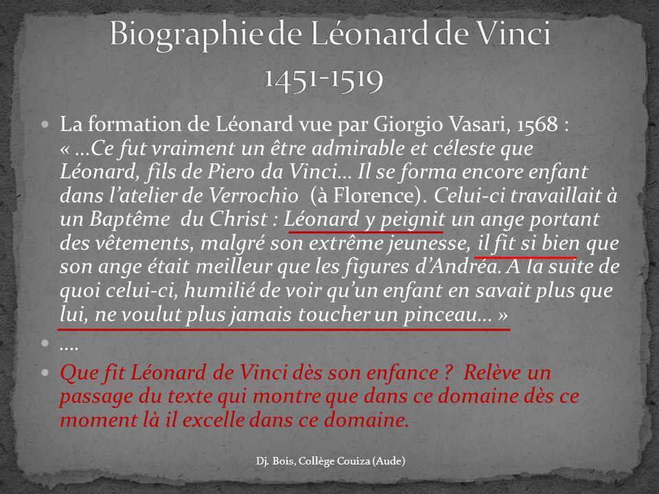 Biographie de Léonard de Vinci 1451-1519