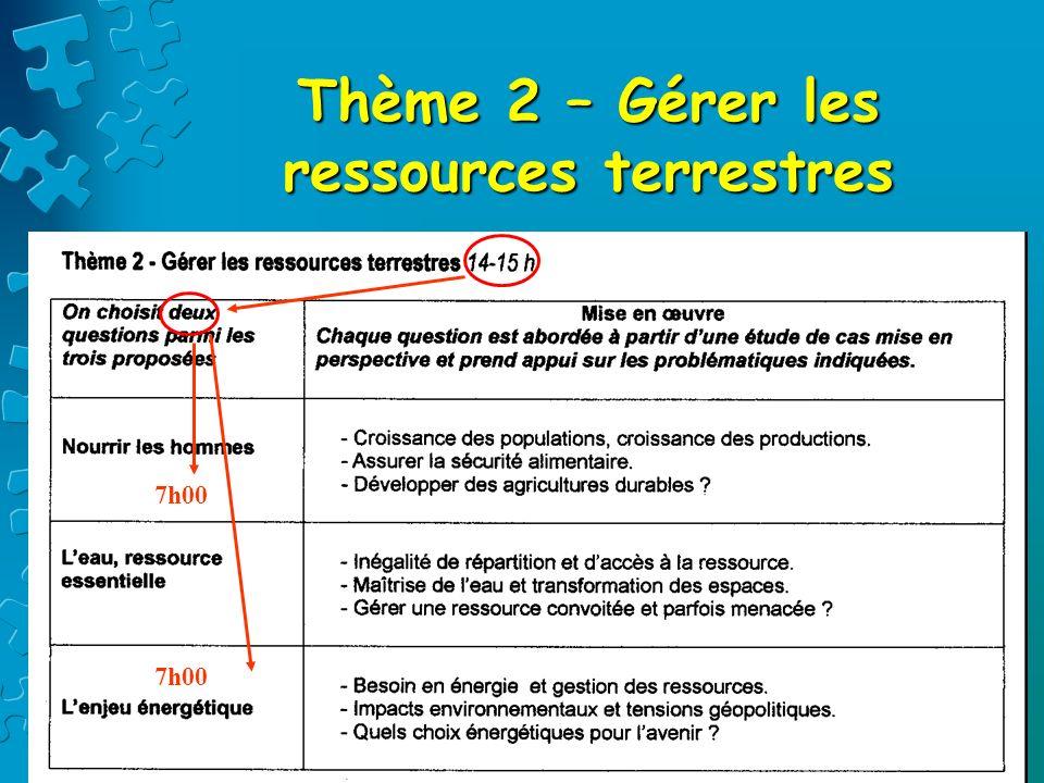 Thème 2 – Gérer les ressources terrestres