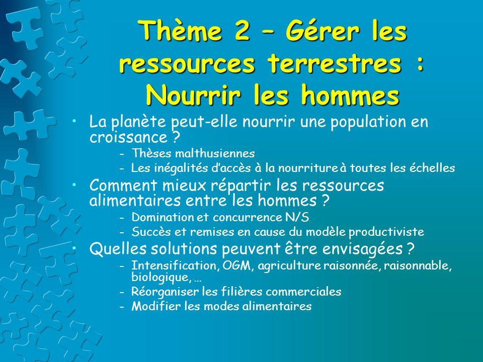 Thème 2 – Gérer les ressources terrestres : Nourrir les hommes