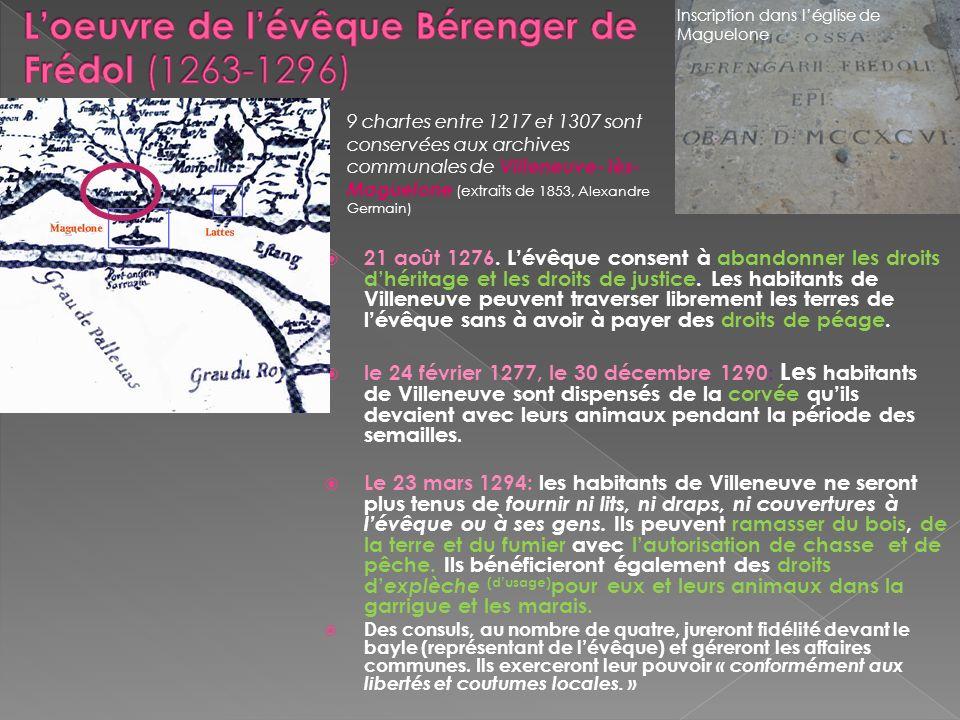 L'oeuvre de l'évêque Bérenger de Frédol (1263-1296)