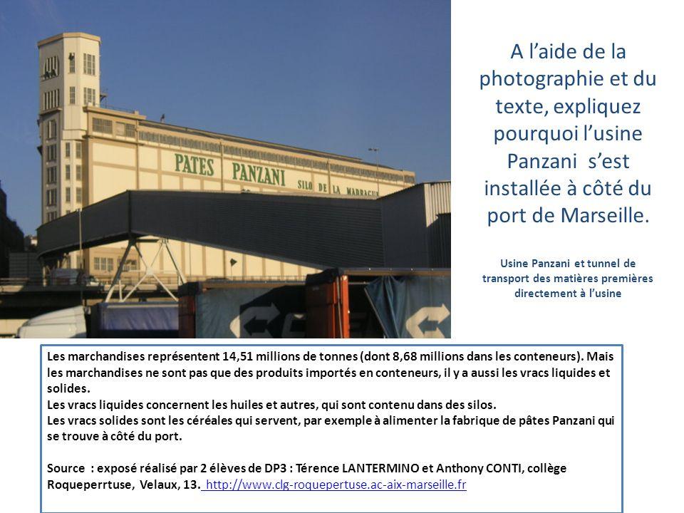 A l'aide de la photographie et du texte, expliquez pourquoi l'usine Panzani s'est installée à côté du port de Marseille. Usine Panzani et tunnel de transport des matières premières directement à l'usine