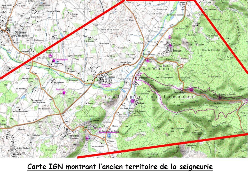 Carte IGN montrant l'ancien territoire de la seigneurie