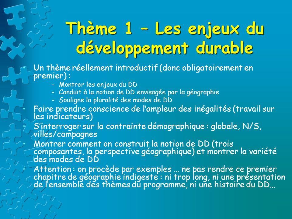 Thème 1 – Les enjeux du développement durable
