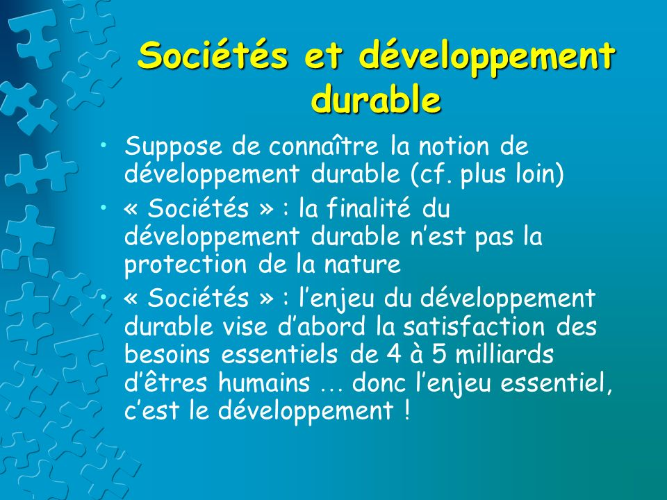 Sociétés et développement durable