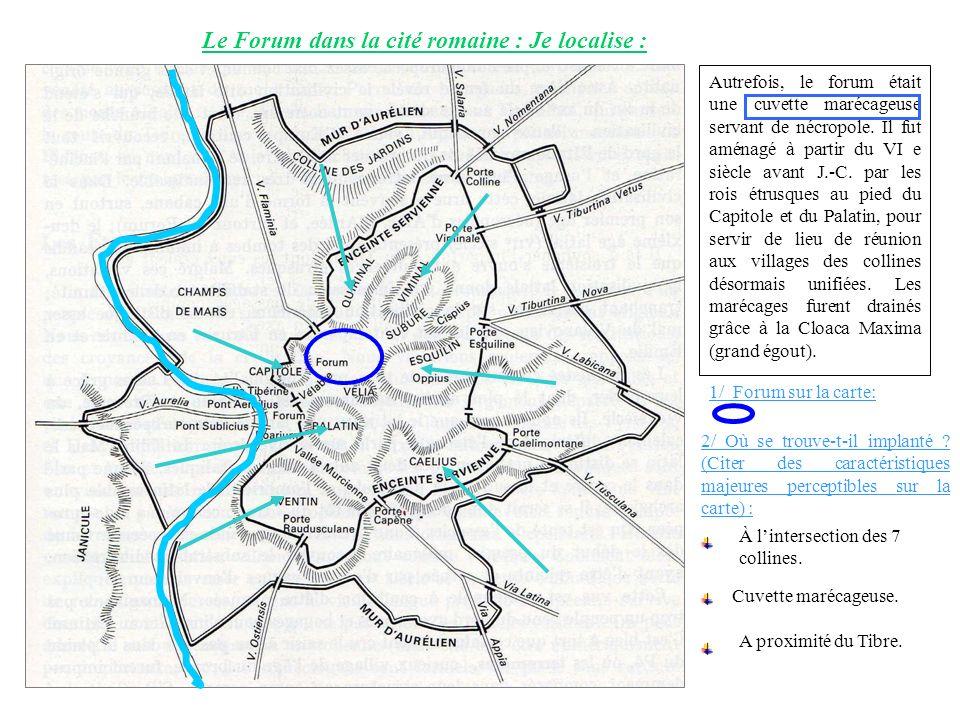 Le Forum dans la cité romaine : Je localise :