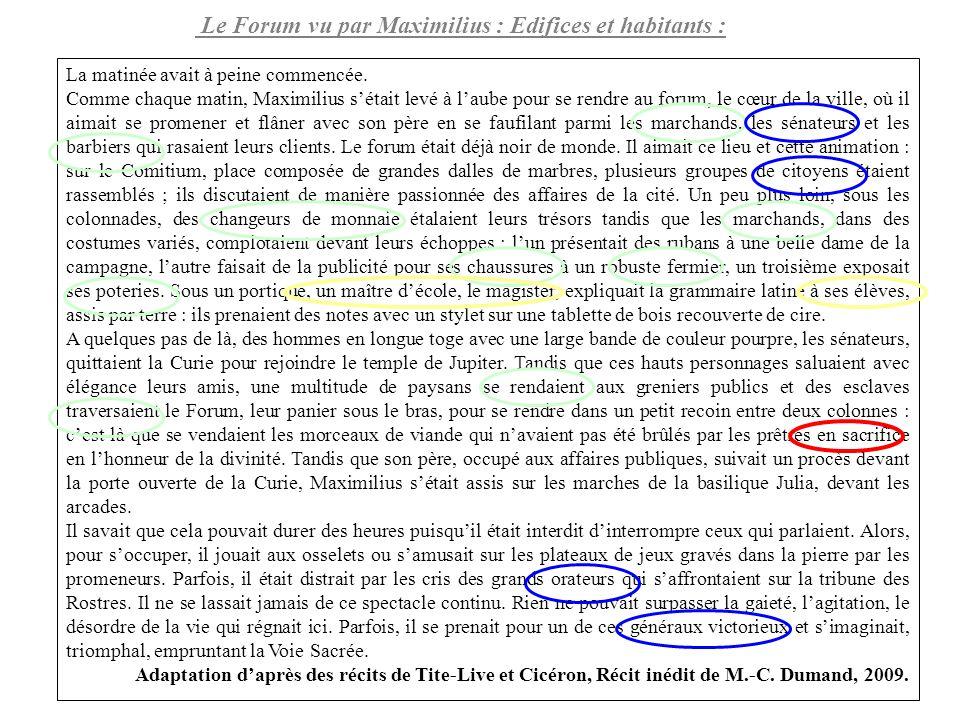 Le Forum vu par Maximilius : Edifices et habitants :