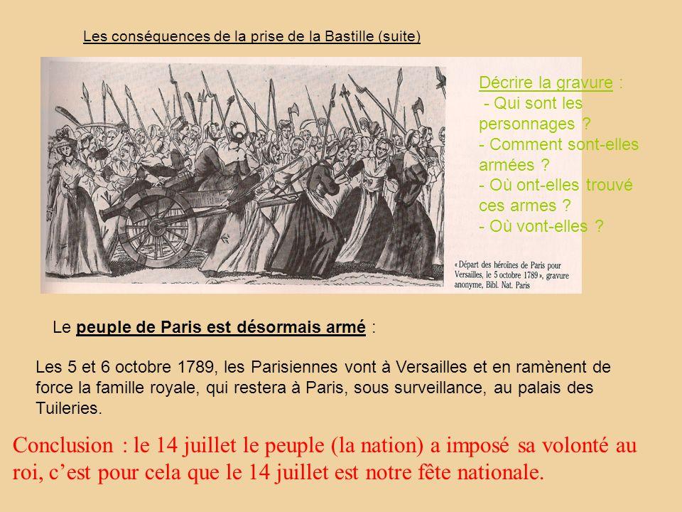 Les conséquences de la prise de la Bastille (suite)