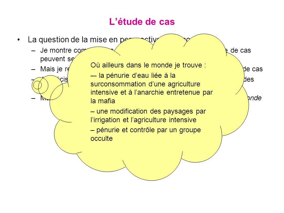 L'étude de cas La question de la mise en perspective en seconde :