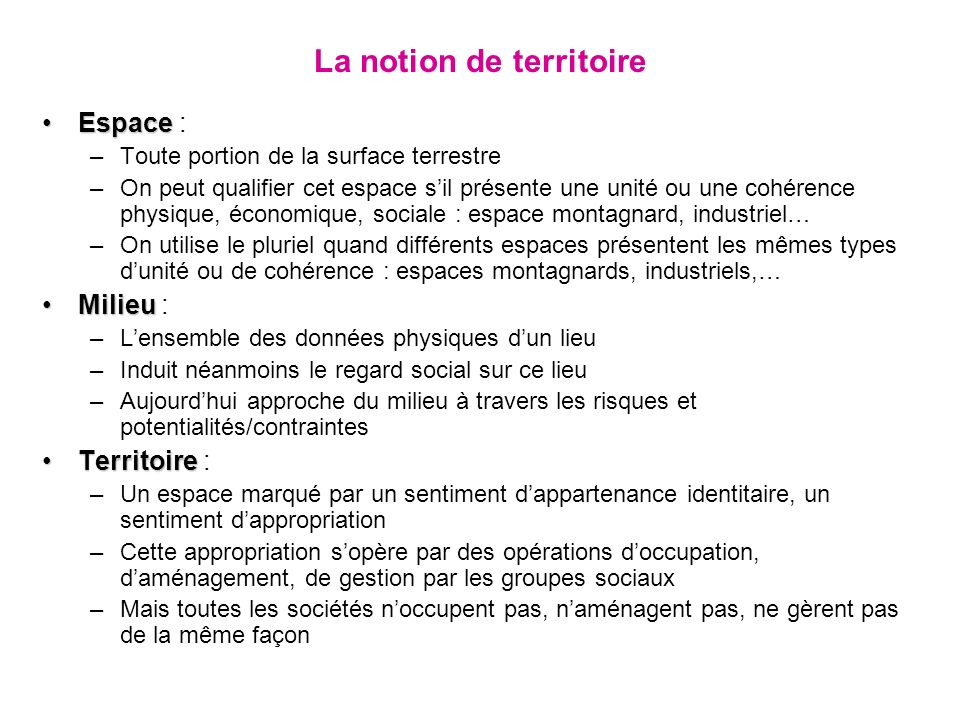 La notion de territoire