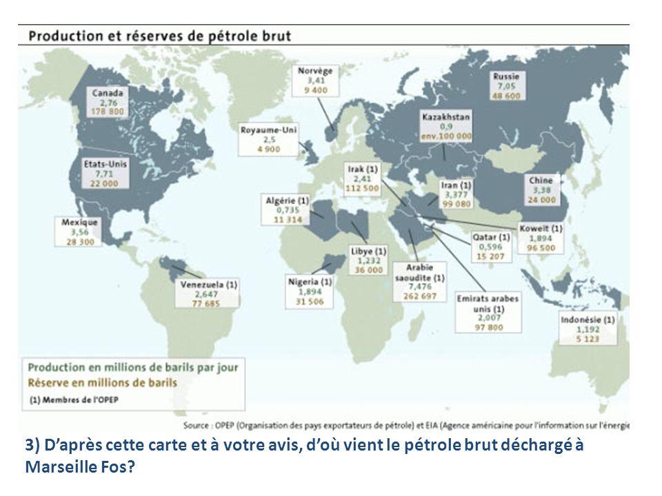 3) D'après cette carte et à votre avis, d'où vient le pétrole brut déchargé à Marseille Fos