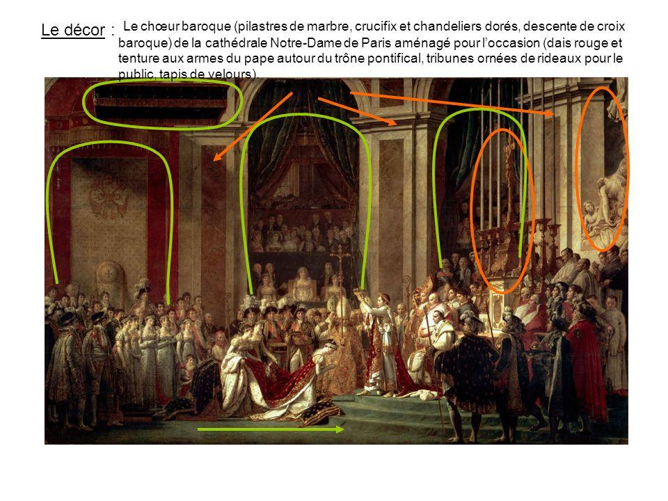 Le chœur baroque (pilastres de marbre, crucifix et chandeliers dorés, descente de croix baroque) de la cathédrale Notre-Dame de Paris aménagé pour l'occasion (dais rouge et tenture aux armes du pape autour du trône pontifical, tribunes ornées de rideaux pour le public, tapis de velours).