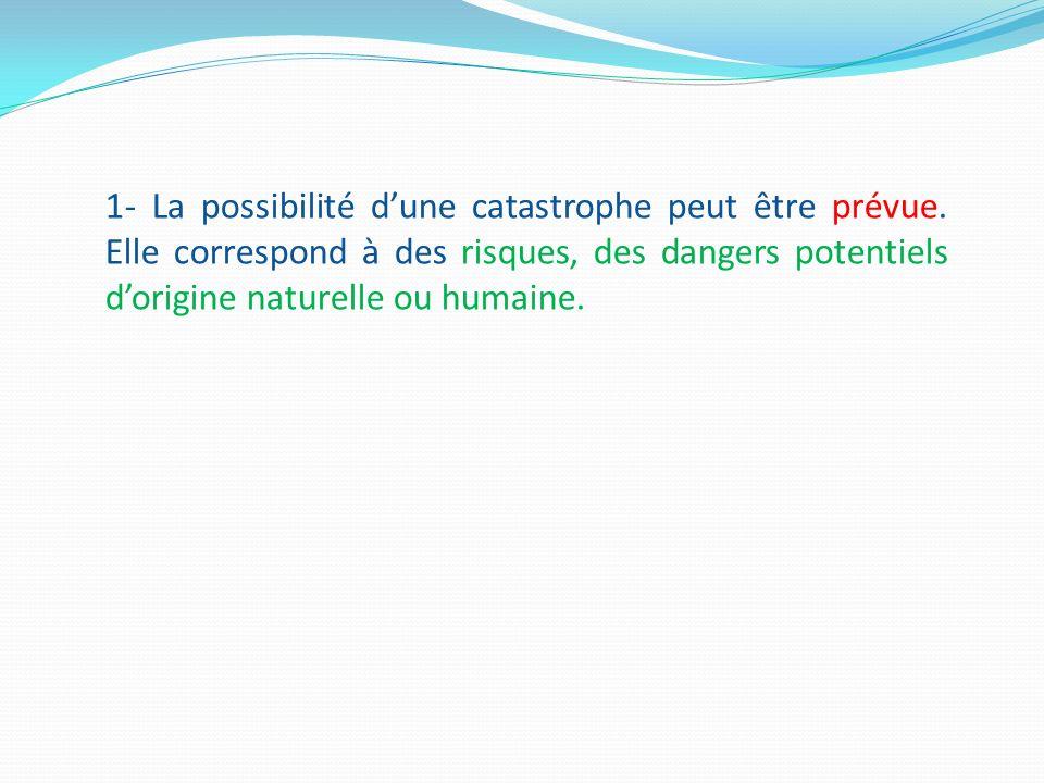 1- La possibilité d'une catastrophe peut être prévue