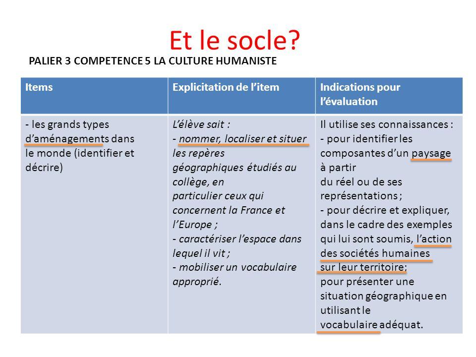 Et le socle PALIER 3 COMPETENCE 5 LA CULTURE HUMANISTE Items
