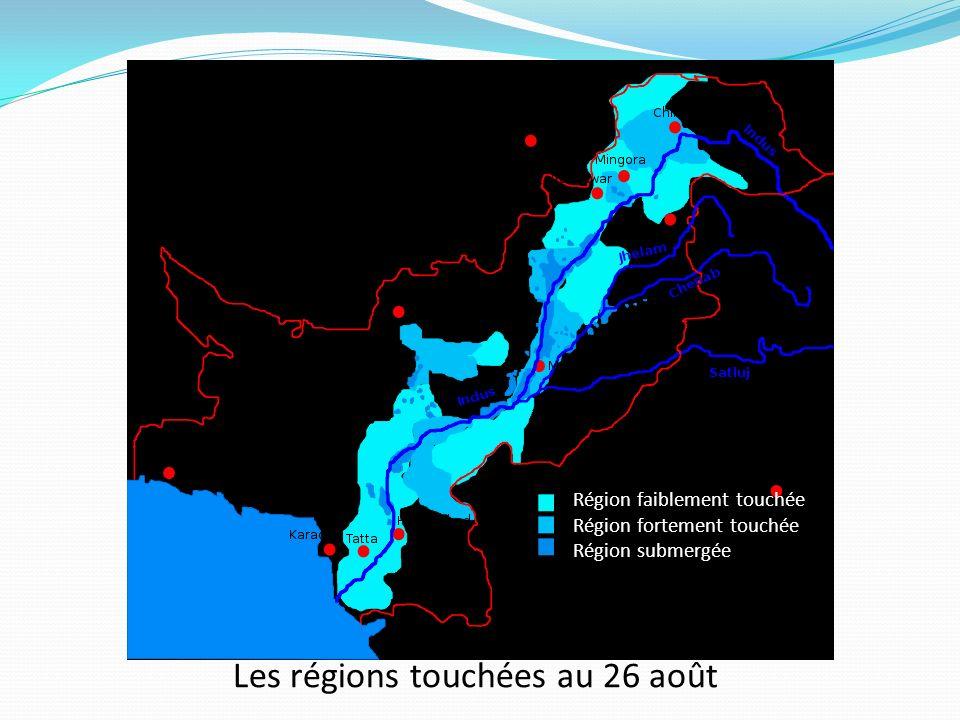 Les régions touchées au 26 août