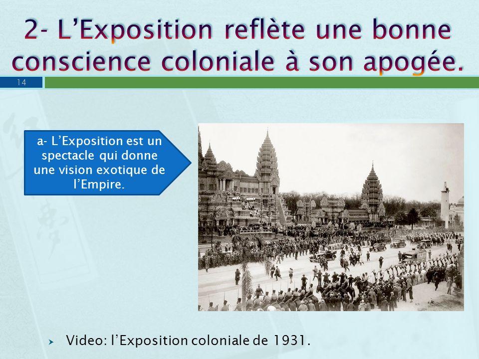 2- L'Exposition reflète une bonne conscience coloniale à son apogée.